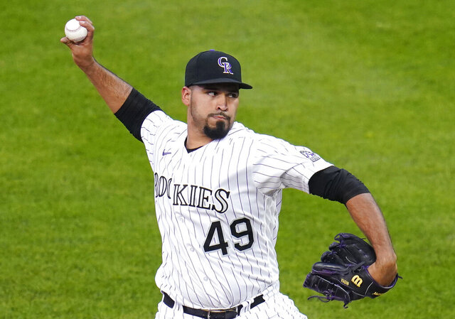 Colorado Rockies starting pitcher Antonio Senzatela throws to an Oakland Athletics batter during the first inning of a baseball game Tuesday, Sept. 15, 2020, in Denver. (AP Photo/Jack Dempsey)