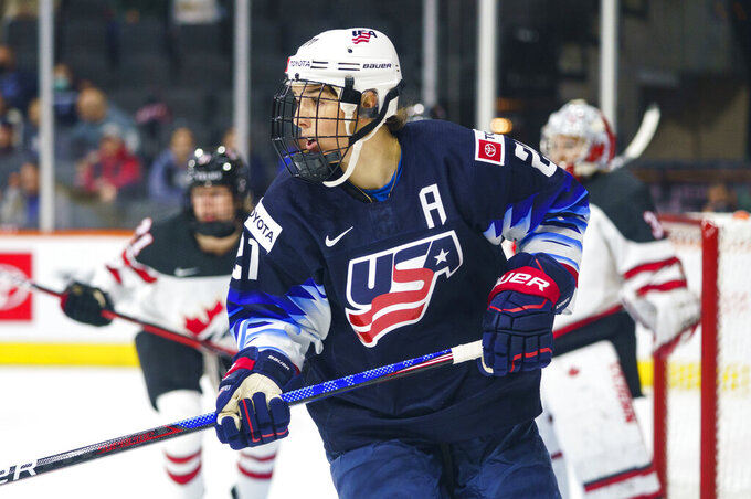 United States' Hilary Knight looks for the puck during the second period of the team's hockey game against Canada, Friday, Oct. 22, 2021, in Allentown, Pa. (AP Photo/Chris Szagola)