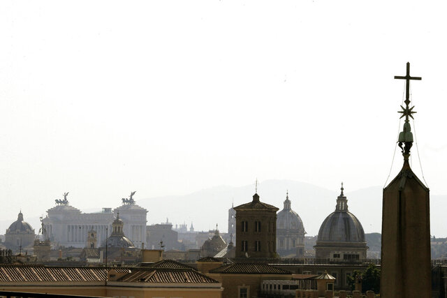 Rome's skyline is seen from the St. Damaso balcony at the Vatican, Wednesday, Sept. 16, 2020. (AP Photo/Gregorio Borgia)