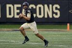 Wake Forest quarterback Leo Kelly looks to pass against the Norfolk State during the second half of a NCAA college football game Saturday, Sept. 11, 2021, in Winston-Salem, N.C. (AP Photo/Chris Carlson)
