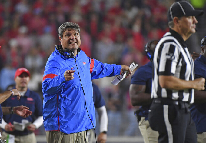Mississippi coach Matt Luke reacts during the second half of the team's NCAA college football game against Texas A&M in Oxford, Miss., Saturday, Oct. 19, 2019. Texas A&M won 24-17. (AP Photo/Thomas Graning)