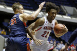 Arizona forward Zeke Nnaji, right, drives to the basket as Pepperdine forward Jan Zidek defends during the first half of an NCAA college basketball game at the Wooden Legacy tournament in Anaheim, Calif., Thursday, Nov. 28, 2019. (AP Photo/Alex Gallardo)