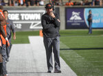 Oregon State coach Jonathan Smith walks the sideline during the team's NCAA college football game against Southern Utah on Saturday, Sept. 8, 2018, in Corvallis, Ore. (Andy Cripe/The Corvallis Gazette-Times via AP)