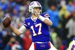 FILE - In this Sunday, Dec. 29, 2019, file photo, Buffalo Bills quarterback Josh Allen (17) throws a pass during the first half of an NFL football game against the New York Jets in Orchard Park, N.Y. In making his NFL playoff debut against the Texans this weekend, second-year Buffalo Bills quarterback Josh Allen gets an opportunity to show how far he's come since his last trip to Houston 14 months ago. (AP Photo/David Dermer, File)