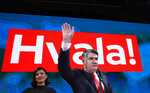 Zoran Milanovic, the liberal opposition candidate waves to supporters after his headquarters claimed victory in a presidential elections in Zagreb, Croatia, Sunday, Jan. 5, 2020. A leftist Zoran Milanovic challenger won Croatia's highly contested presidential election on Sunday, beating a conservative incumbent — a rare victory by a liberal in recent votes in Central Europe. (AP Photo/Darko Bandic)