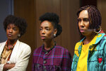 This image released by Hulu shows Yaani King Mondschein, from left, Elle Lorraine and Lena Waithe in a scene from
