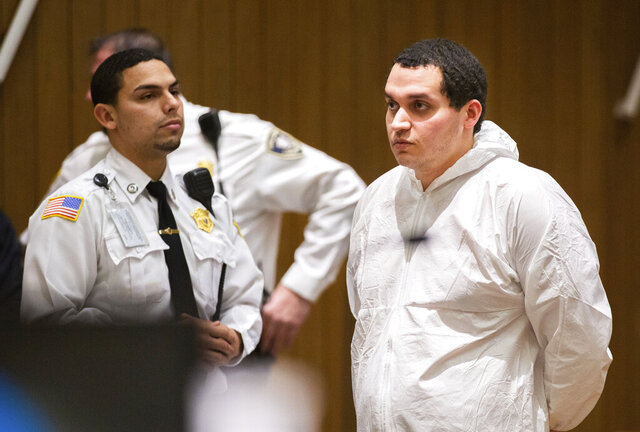 Miguel Rodriguez, who is being charged with abducting an 11-year-old girl, is arraigned in Springfield District Court Thursday, Jan. 16, 2020, in Springfield, Mass. (Leon Nguyen/The Republican via AP, Pool)