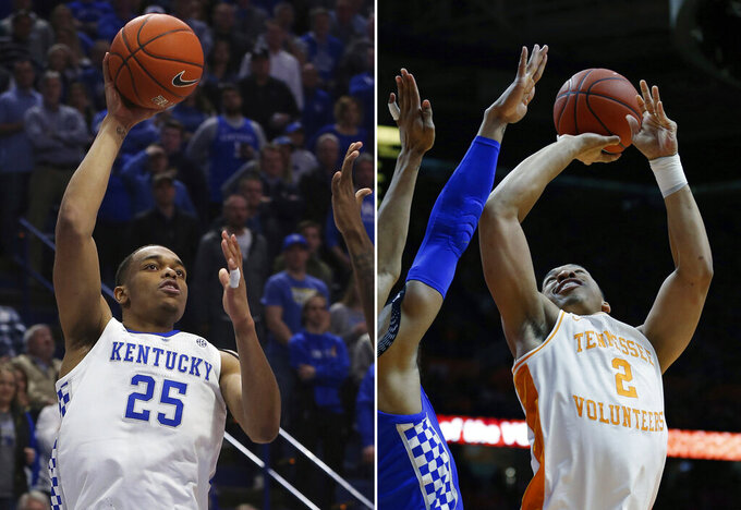 FILE - At left, in a Feb. 26, 2019, file photo, Kentucky's PJ Washington (25) shoots against Arkansas during the second half of an NCAA college basketball game, in Lexington, Ky. At right, in a March 2, 2019, file photo,  Tennessee forward Grant Williams (2) shoots against Kentucky during the first half of an NCAA college basketball game, in Knoxville, Tenn. The top conferences in college basketball are wrapping up regular-season play, along with the races to determine each league's player of the year. Tennessee's Grant Williams is the front-runner. Kentucky's PJ Washington is the biggest competition. (AP Photo/File)