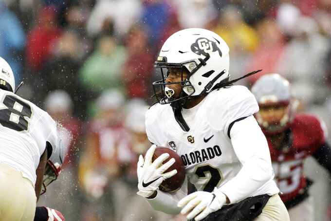Colorado wide receiver Laviska Shenault Jr. (2) runs with the ball during the first half of an NCAA college football game against Washington State in Pullman, Wash., Saturday, Oct. 19, 2019. (AP Photo/Young Kwak)