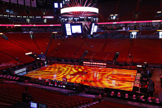 A general view of the American Airlines Arena prior to the start of an NBA basketball game between the Indiana Pacers and the Miami Heat, Sunday, March 21, 2021, in Miami. (AP Photo/Joel Auerbach)