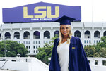 In this undated provided by Kim Searson, Brittney Searson poses at Louisiana State University in Baton Rouge, La. Searson was among those killed when a helicopter carrying billionaire coal entrepreneur Chris Cline crashed in the Bahamas on Thursday, July 4, 2019. (Kim Searson via AP)