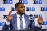 Michigan linebacker Josh Ross talks to reporters during an NCAA college football news conference at the Big Ten Conference media days, Thursday, July 22, 2021, at Lucas Oil Stadium in Indianapolis. (AP Photo/Doug McSchooler)