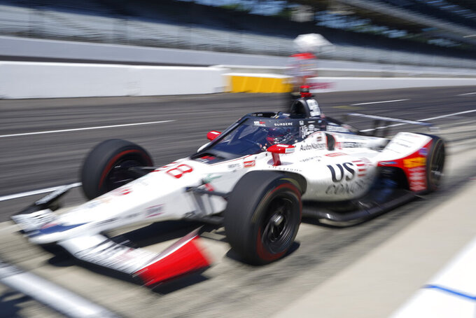 Marco Andretti pulls out of the pits during the final practice session for the Indianapolis 500 auto race at Indianapolis Motor Speedway, Friday, Aug. 21, 2020, in Indianapolis. (AP Photo/Darron Cummings)