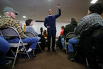 U.S. Sen. Cory Booker, D-N.J., speaks during a meet and greet with local residents at the First Congregational United Church of Christ, Friday, Feb. 8, 2019, in Mason City, Iowa. (AP Photo/Charlie Neibergall)