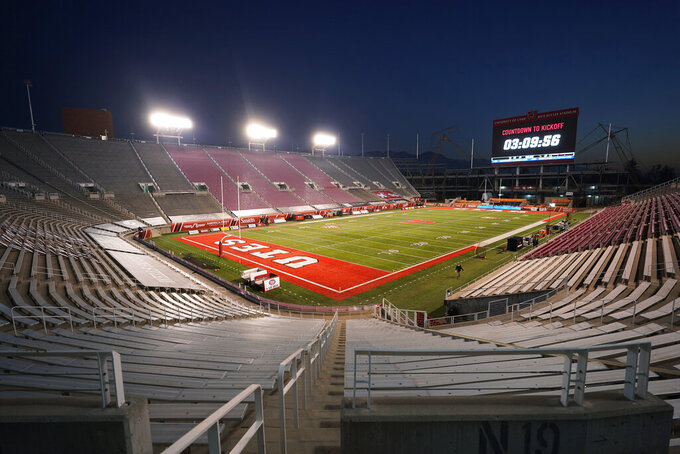 Rice-Eccles Stadium is shown before an NCAA college football game between Oregon State and Utah on Saturday, Dec. 5, 2020, in Salt Lake City. Fans were not permitted to attend the game. (AP Photo/Rick Bowmer)