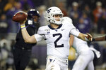 West Virginia quarterback Jarret Doege (2) passes the ball against TCU in an NCAA college football game Friday, Nov. 29, 2019, in Fort Worth, Texas. (AP Photo/Richard W. Rodriguez)
