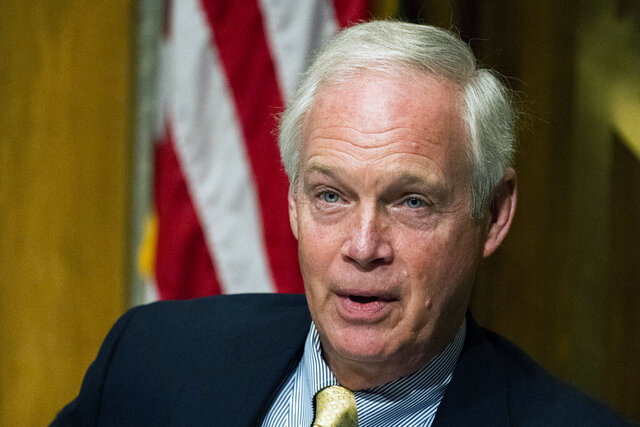 FILE - In this Sept. 16, 2020 file photo, Senate Homeland Security and Governmental Affairs Committee Chairman Sen. Ron Johnson, R-Wis., speaks on Capitol Hill in Washington. A