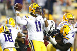 LSU quarterback TJ Finley (11) throws against South Carolina during the first half of an NCAA college football game in Baton Rouge, La., Saturday, Oct. 24, 2020. (AP Photo/Brett Duke)