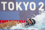 Gregorio Paltrinieri of Italy swims in the men's 800-meters freestyle final at the 2020 Summer Olympics, Thursday, July 29, 2021, in Tokyo, Japan. (AP Photo/Matthias Schrader)