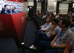 Spanish football president Luis Rubiales, second left, adresses the media during a press conference as Sports director of the Spanish Football Federation Fernando Hierro, second right, attends at the 2018 soccer World Cup in Krasnodar, Russia, Wednesday, June 13, 2018. Fernando Hierro will manage Spain at the 2018 World Cup after Julen Lopetegui was fired. (AP Photo/Manu Fernandez)