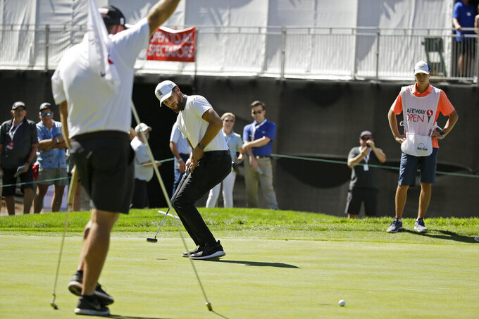 Stephen Curry reacts after missing a birdie putt on the seventh green of the Silverado Resort North Course during the pro-am event of the Safeway Open PGA golf tournament Wednesday, Sept. 25, 2019, in Napa, Calif. (AP Photo/Eric Risberg)