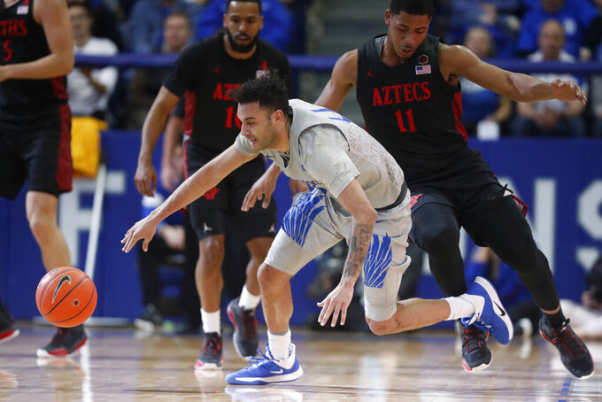 Air Force guard Caleb Morris, front, collides with San Diego State forward Matt Mitchell while pursuing the ball in the second half of an NCAA college basketball game Saturday, Feb. 8, 2020, at Air Force Academy, Colo. (AP Photo/David Zalubowski)