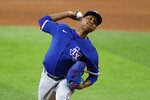 Texas Rangers pitcher Jose Leclerc throws to the plate during an intrasquad practice baseball game at Globe Life Field in Arlington, Texas, Monday, July 6, 2020. (AP Photo/Tony Gutierrez)