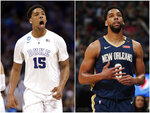 This combination of photos shows Duke's Jahlil Okafor, left, on March 22, 2015, and as a New Orleans Pelicans player on March 2, 2019. In 2015, Okafor led the Blue Devils to the national title, then went on to get selected third in the NBA draft. An Associated Press analysis of rosters of perennial NCAA Tournament teams concludes it takes NBA-caliber talent for teams to go far consistently. (AP Photos)