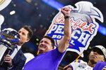 LSU head coach Ed Orgeron celebrates after the team's Peach Bowl NCAA semifinal college football playoff game against Oklahoma, Saturday, Dec. 28, 2019, in Atlanta. LSU won 63-28. (AP Photo/John Amis)