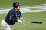 Tampa Bay Rays' Ji-Man Choi, of South Korea, connects for an RBI double off New York Yankees starting pitcher Gerrit Cole during the fifth inning of the first game of a doubleheader baseball game Saturday, Aug. 8, 2020, in St. Petersburg, Fla. Rays' Mike Zunino scored. (AP Photo/Chris O'Meara)