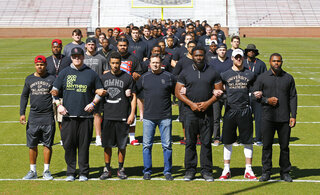 Sterling Shepard, Ty Darlington, Zack Sanchez, Bob Stoops, Charles Tapper, Trevor Knight, Eric Striker.