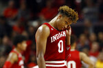 Indiana guard Romeo Langford wipes his face in the final moments of the team's NCAA college basketball game against Maryland, Friday, Jan. 11, 2019, in College Park, Md. Maryland won 78-75, despite a game-high 28 points from Langford. (AP Photo/Patrick Semansky)