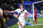 LA Galaxy forawrd Zlatan Ibrahimovic, left, of Sweden, celebrates his goal against the Chicago Fire in the second half of an MLS soccer match in Carson, Calif., Saturday, March 2, 2019. (AP Photo/Ringo H.W. Chiu)