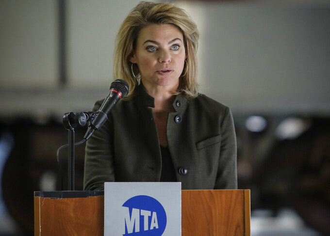 FILE - This photo from Tuesday May 19, 2020, shows Sarah Feinberg, Interim President, MTA New York City Transit, during a news conference in New York. Feinberg, who is stepping down from her position, said the NYC transit job has cut severely into her time with her family. (AP Photo/Frank Franklin II, File)
