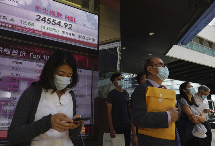 People stand near a bank's electronic board showing the Hong Kong share index Tuesday, Oct. 20, 2020. Asian shares fell moderately Tuesday, echoing Wall Street's decline as hopes faded Washington will come through with badly needed aid for the economy before the U.S. presidential election.   (AP Photo/Vincent Yu)