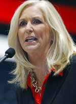 Republican nominee for attorney general, current state auditor Lynn Fitch, spells out her campaign platform at the Mississippi Economic Council's annual