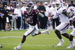 Mississippi State wide receiver Jamire Calvin (6) sprints past the Louisiana Tech defense on his way to a 20-yard touchdown pass reception during the first half of an NCAA college football game in Starkville, Miss., Saturday, Sept. 4, 2021. (AP Photo/Rogelio V. Solis)