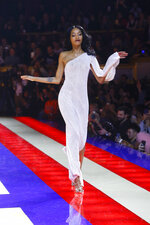 Model Jourdan Dunn wears a creation as part of the Tommy Now ready to wear Fall-Winter 2019-2020 collection, that was presented in Paris, Saturday, March 2, 2019. (AP Photo/Michel Euler)