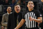 Oakland head coach Greg Kampe yells at a referee after receiving a technical during the second half of an NCAA college basketball game against Michigan State, Saturday, Dec. 14, 2019, in Detroit. (AP Photo/Carlos Osorio)