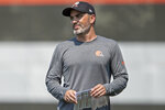 Cleveland Browns head coach Kevin Stafanski watches during NFL football practice in Berea, Ohio, Wednesday, July 28, 2021. (AP Photo/David Dermer)
