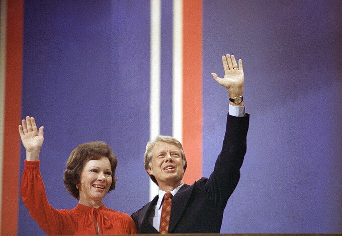 FILE - In this July 15, 1976 file photo Jimmy Carter with Wife Rosalynn Carter at the National Convention in Madison Square Garden in New York. Jimmy Carter and his wife Rosalynn celebrate their 75th anniversary this week on Thursday, July 7, 2021. (AP Photo, File)