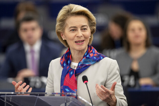 European Commission President Ursula von der Leyen delivers her speech at the European parliament Tuesday, Jan.14, 2020 in Strasbourg, eastern France. Croatian Prime Minister Andrej Plenkovic will present the priorities of the rotating Council presidency for the next six months. (AP Photo/Jean-Francois Badias)