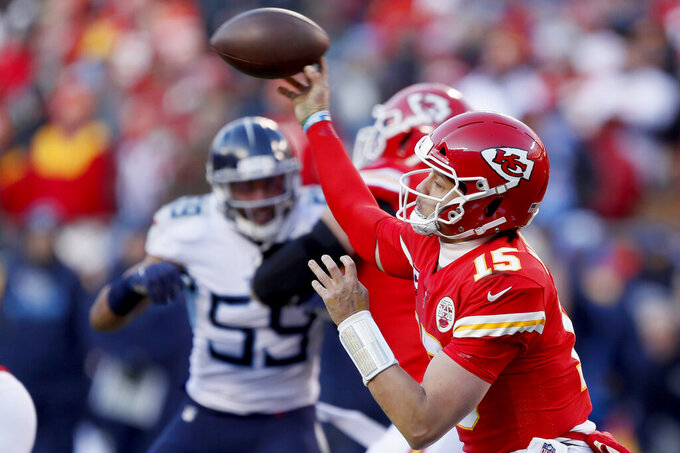 Kansas City Chiefs' Patrick Mahomes throws during the second half of the NFL AFC Championship football game against the Tennessee Titans Sunday, Jan. 19, 2020, in Kansas City, MO. (AP Photo/Charlie Neibergall)
