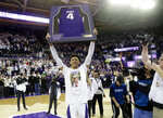 Washington guard Matisse Thybulle is honored on senior night before an NCAA college basketball game against Oregon, Saturday, March 9, 2019, in Seattle. (AP Photo/Ted S. Warren)