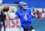 Boise State quarterback Brett Rypien (4) looks to pass the ball against San Diego State in the first half of an NCAA college football game, Saturday, Oct. 6, 2018, in Boise, Idaho. (AP Photo/Steve Conner)