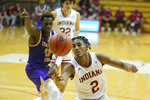 Indiana's Armaan Franklin (2) grabs a loose ball as Tennessee Tech's Amadou Sylla (12) watches during the second half of an NCAA college basketball game, Wednesday, Nov. 25, 2020, in Bloomington, Ind. (AP Photo/Darron Cummings)