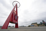 A sign outside Angels Stadium announces Opening Day as July 24, on Wednesday, July 1, 2020, in Anaheim, Calif. The Angels and other Major League Baseball teams will report to their respective facilities for training this week, amid the coronavirus pandemic. (AP Photo/Ashley Landis)
