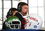 North Texas coach Seth Littrell answers questions in a broadcast interview during Conference USA college football media day, Wednesday, July 17, 2019, in Frisco, Texas. (AP Photo/Tony Gutierrez)