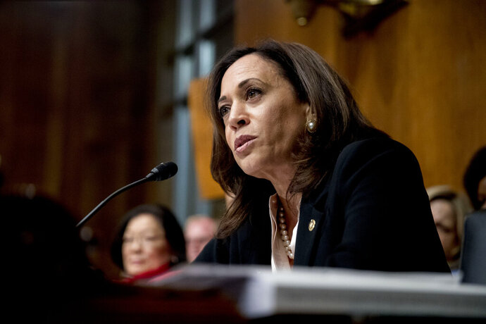 FILE - In this Wednesday, May 1, 2019, file photo, Sen. Kamala Harris, D-Calif., speaks on Capitol Hill in Washington. Harris is offering a new bill to address racial disparities in maternal health care, one of several plans by 2020 presidential candidates on the issue. The California Democrat's bill would create some $150 million in grant programs to medical schools and states to fight implicit racial bias in medical care for women. (AP Photo/Andrew Harnik, File)