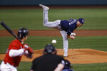 Tampa Bay Rays' Drew Rasmussen pitches to a Boston Red Sox batter during the first inning of a baseball game Tuesday, Sept. 7, 2021, at Fenway Park in Boston. (AP Photo/Winslow Townson)